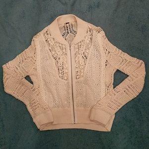 Free People Crochet Zipper Cardigan